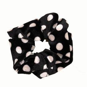 Scrunchie zwart met witte stip