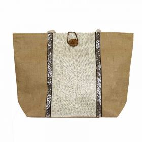 Strandtas met zilveren strook